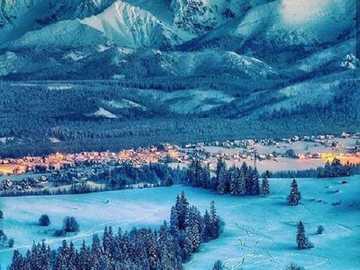 Zima v horách. - Krajina puzzle.
