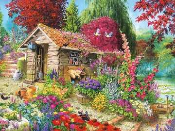 In the garden. - Art. Painting. Puzzle.