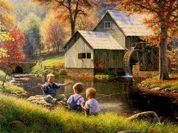 Autumn on the river. - Jigsaw puzzle. Painting..