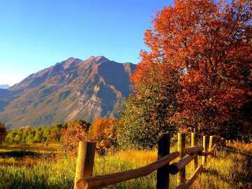 Autumn In The Mountains - Mountains, Meadow, Fence. Autumn In The Mountains