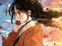 Anime girl w/ glasses - Anime girl , glasses, autumn