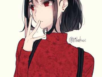 Chica anime - Chica anime con cuello alto rojo y pelo corto