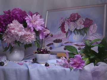Pfingstrosen in Vase und Bild - Pfingstrosen in Vase und Bild