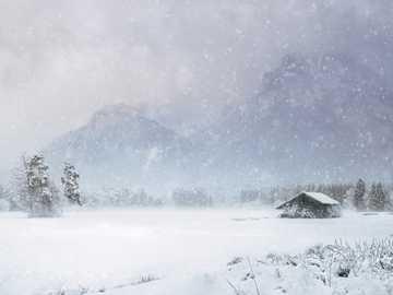 къща, покрита със сняг близо до планина - Готови ли сте за малко сняг? Малко сняг в моите обувки -
