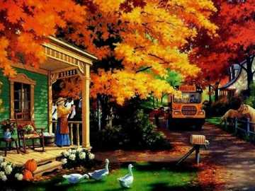 Autumn in painting. - Painting. Jigsaw puzzle.