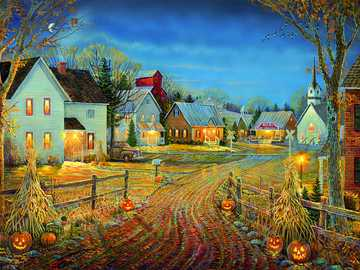 Autumn village. - Painting. Jigsaw puzzle.