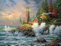 Peinture paysage côtier avec phare