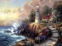 Gemälde Küstenlandschaft mit Leuchtturm