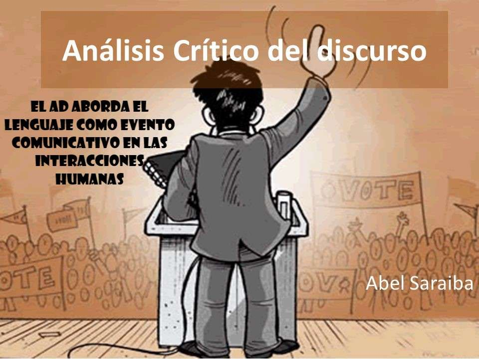 "SPEECH ANALYSIS - Discover the image on the theme ""Discourse Analysis as a social practice"" (6×5)"
