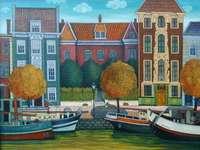 Maisons de canal avec barges - Waldemar Pieczko, peintre naïf