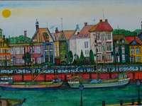 maisons de canal avec barges - Zigmunt Warczyglowa, peintre naïf