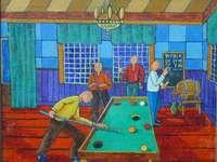 jouer au billard, 1974 - Pawel Wrobel, peintre naïf