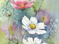Pintando flores no prado