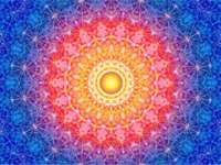 Mandala żółty czerwony pomarańczowy fioletowy niebieski - Mandala żółty czerwony pomarańczowy fioletowy niebieski