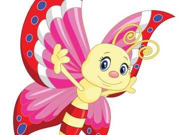 DESENAREA FLUTURĂ - Fluture galben-roz