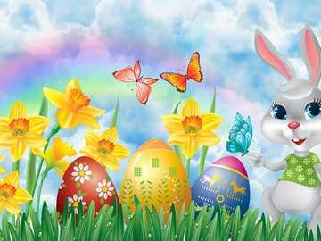 Iepuraș și fluture - Colorate, ouă de Paști, fluturi, iepuraș de Paște, Narcise
