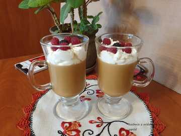 Coffee with ice cream and fruit