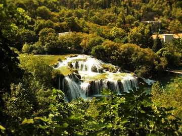 Waterfall on the Krka river - Waterfall on the river Krka, Croatia