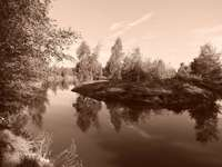Zwart en wit eiland - Een eiland aan een meer ergens in Polen