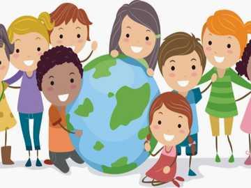 Diversidad cultural 4 - Niños sosteniendo el mundo
