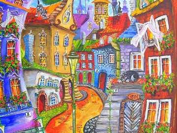 колоритен град - Град, улица, сгради, небе, слънце.