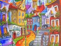 színes város - Város, utca, épületek, ég, nap.
