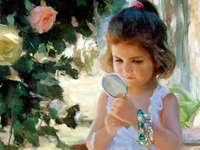 Lustro, lustro w dłoni - Dziewczyny, lusterka ręczne, róże, biżuteria