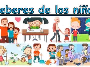 Задължения на децата - Съберете пъзела от 15 части за домашните на децата.