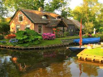 Cottage And Boats - Cottage, Water Canal And Boats