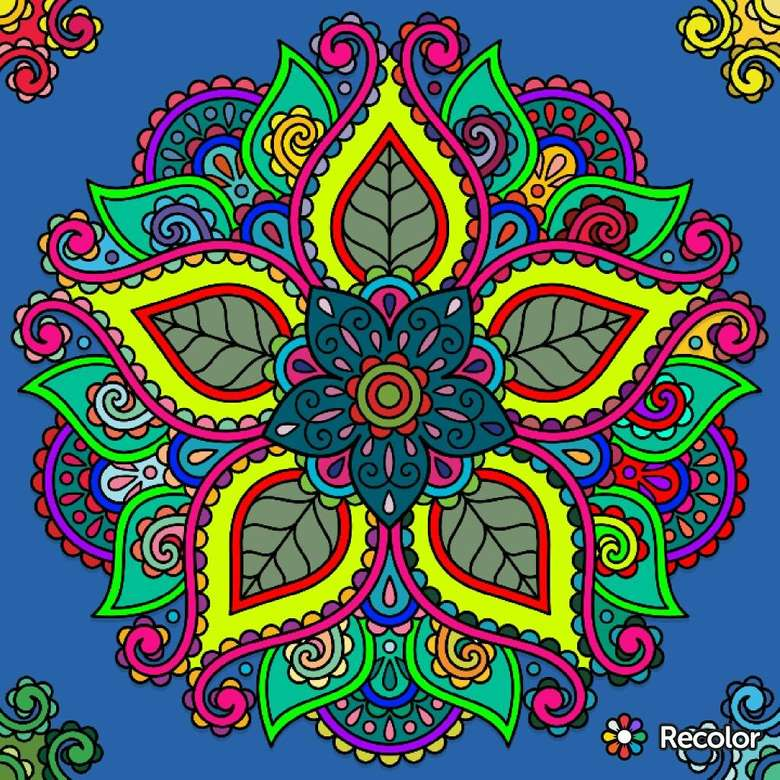 Mandala multicolored in different colors (10×10)
