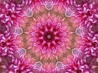 Mandala vit orange grön rosa