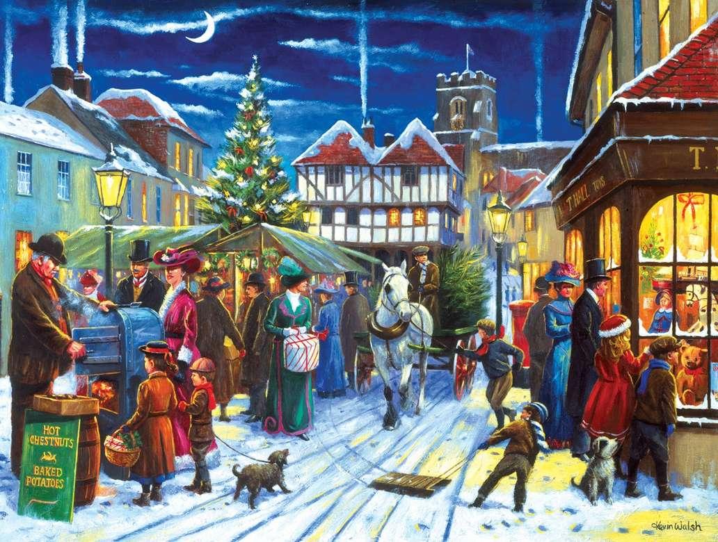Vánoční trh - Vánoční trh, lidé, jedle, festival, zima