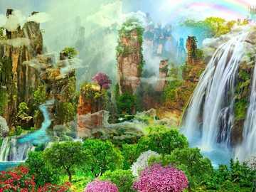 Fantasyland - Mountains, nature, waterfall, flowers, castle