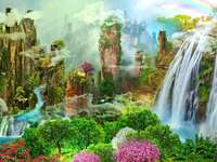 Fantasyland - Mountains, nature, waterfall, flowers, castle