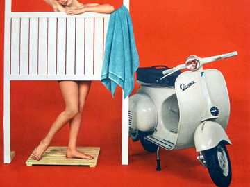 1960 Vespa Pin Up Girls - This Is A Photo Of Young Woman