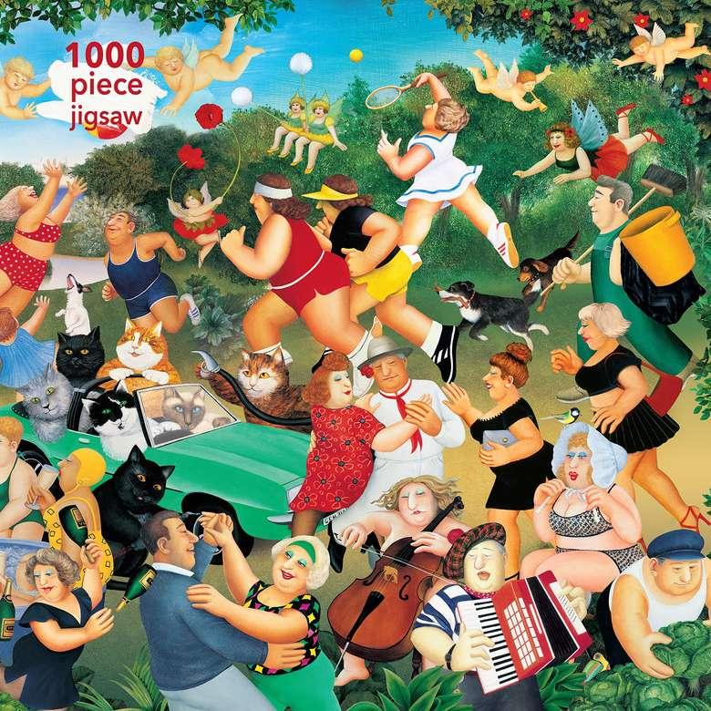 Puzzle Beryl Cook - Pessoas, animais, bom humor, carro (12×12)
