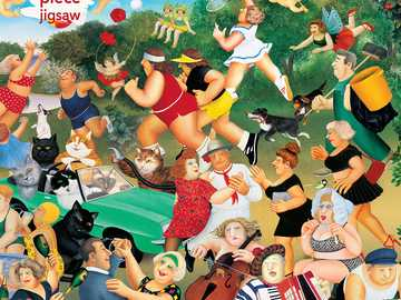 Puzzle Beryl Cook - People, animals, good mood, car