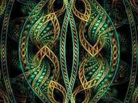 Fraktál művészet zöld arany