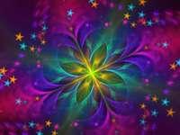 Gwiaździste niebo kolorowe światło sztuki - Gwiaździste niebo kolorowe światło sztuki