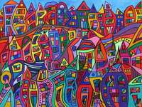 Abstract art colorful city