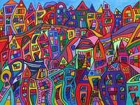 Absztrakt művészet színes város