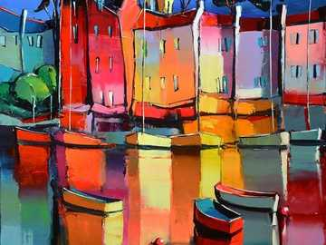 Рисуване на град върху водата - Рисуване на град върху водата