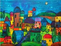 Naiv festmény városi éjszakai égbolton