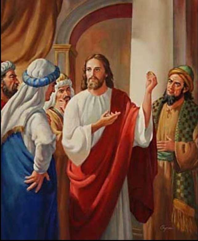 Cezar i Bóg - Jezus powiedział: Oddajcie Cezarowi to, co należy do Cezara, Bogu, co należy do Boga Ewangelia moneta Mt 22,15-21 (6×8)