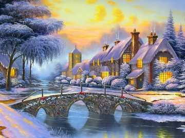 Zimní krajina - Zima, krajina, řeka, most, domy, sníh