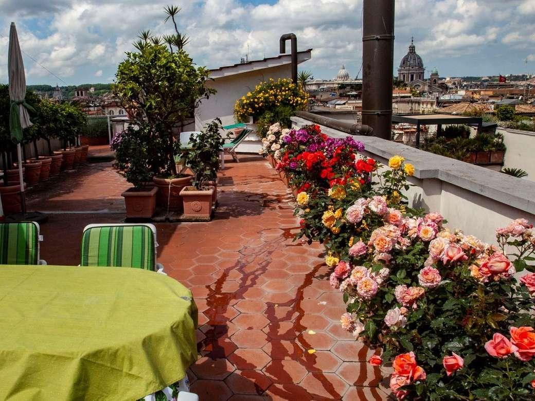 Terrasse sur le toit de Rome avec des roses (12×9)