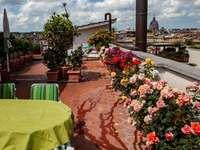 Římská střešní terasa s růžemi