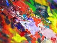 mångfärgad abstrakt målning - Ibland är den röran du gör när du målar i sig konstnärlig. Jag hoppas kunna göra mer så här