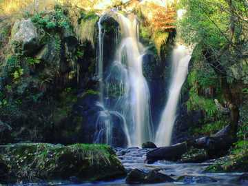 Waterfall in slow motion - water falls in the middle of green trees. Bolton Abbey, Skipton, UK