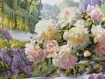 Flores en el florero - Flores en el jarrón, naturaleza, peonías, lilas
